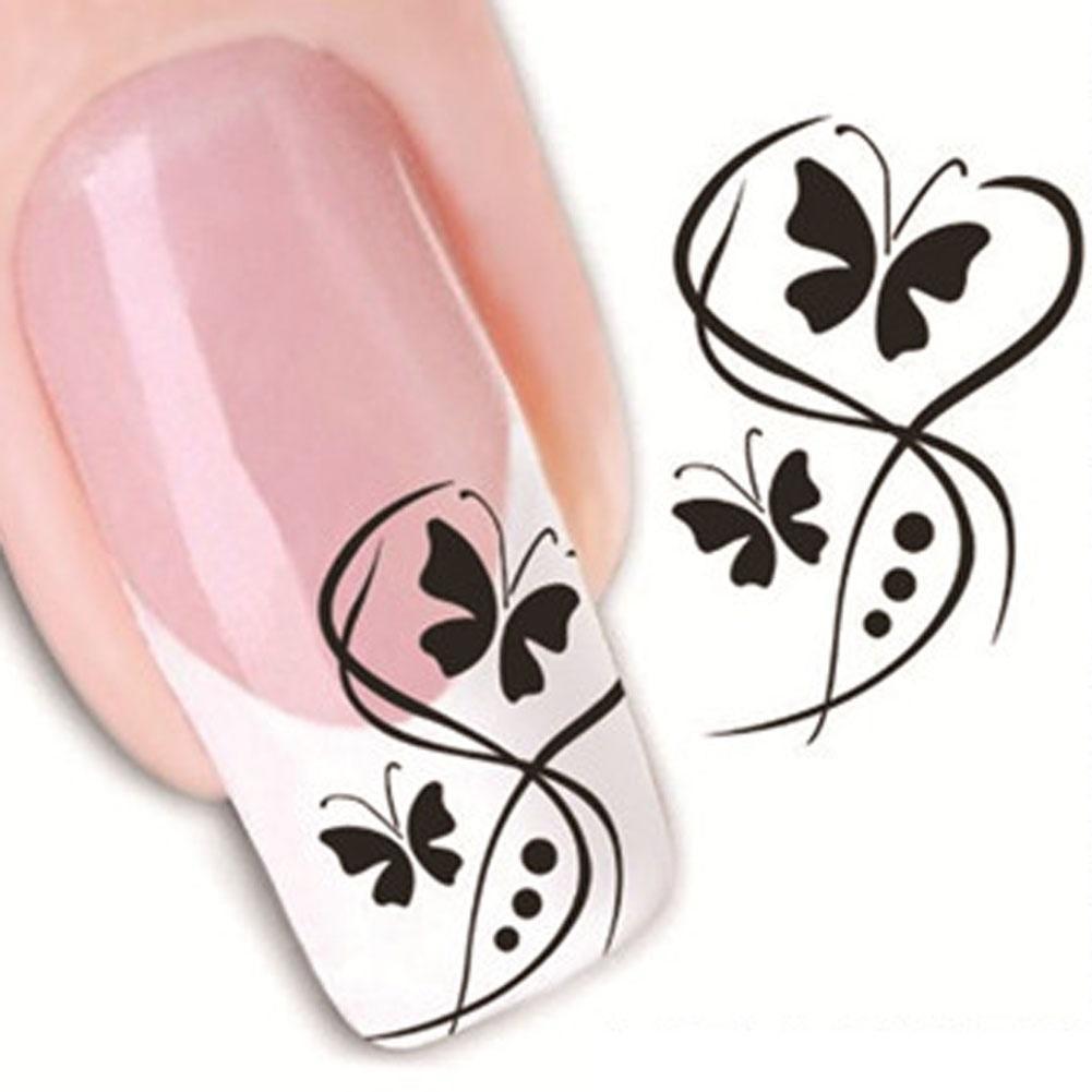 Наклейки бабочки на ногтях