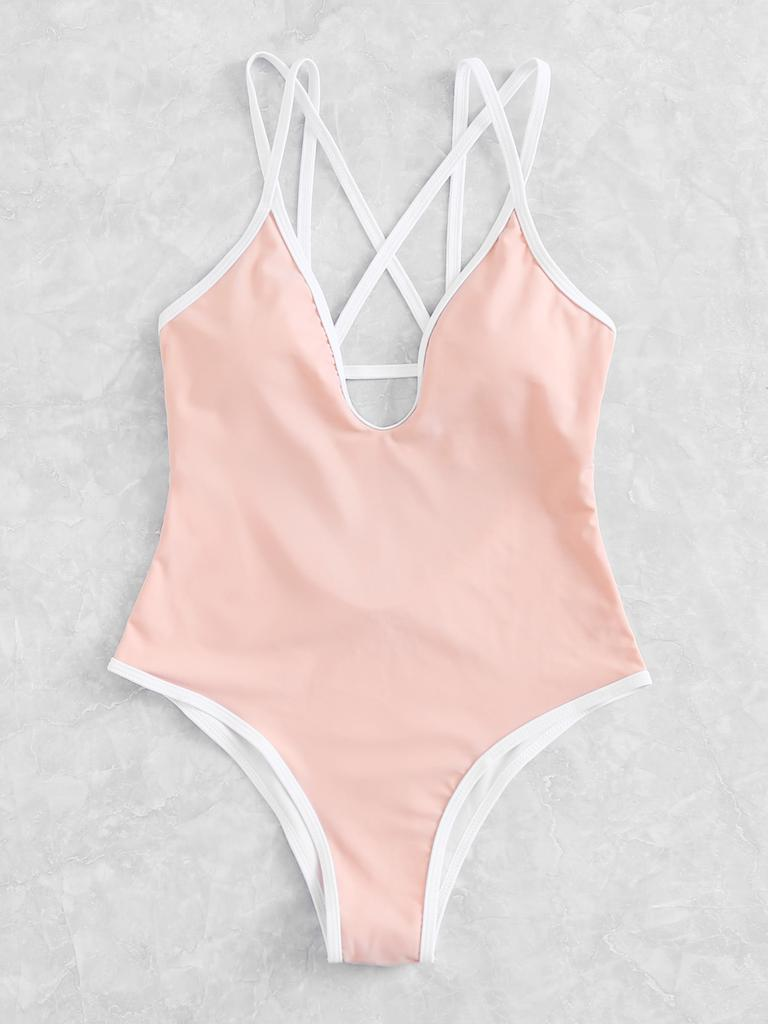 9307bf0967 2019 SHEIN Criss Cross Plunge Swimsuit From Redundant3, $28.15 ...