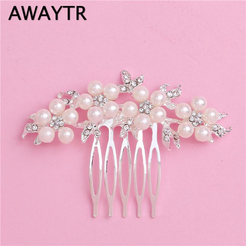 Großhandel Awaytr Crystal Blumenrutsche Floral Pearl Haarspange Kamm ...