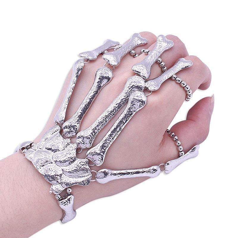 Gothic Halloween Skull Skeleton Metal Fingers Hand Bone Bracelet with Adjustable Ring Wristband Handmade Punk Jewelry for Women Girls