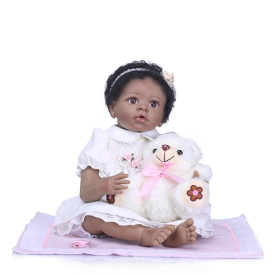 "Huggable 22/"" Reborn Baby Girl Doll Black Skin African American Doll Toddler"