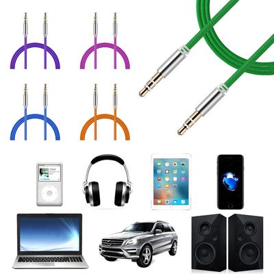 Nylon Wire Adapter ABS chrome Audio Cable Male To Male Weave Cord AUX Line
