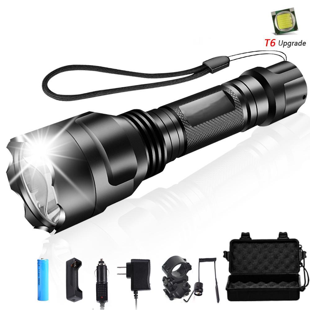 20000LM LED Flashlight T6 LED Bike Hunting Lamp Laser 18650 Torch Mount Holder#