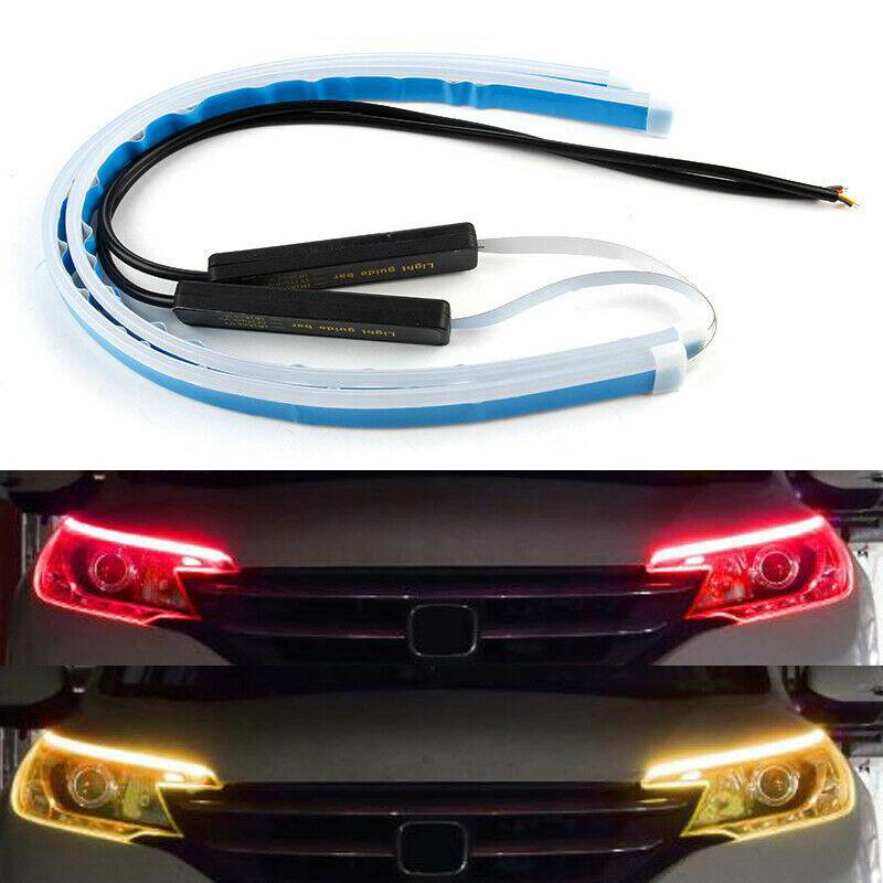 2x Car White//Amber Switchback Flowing 17 LED Strip Light DRL Turn Signal Useful