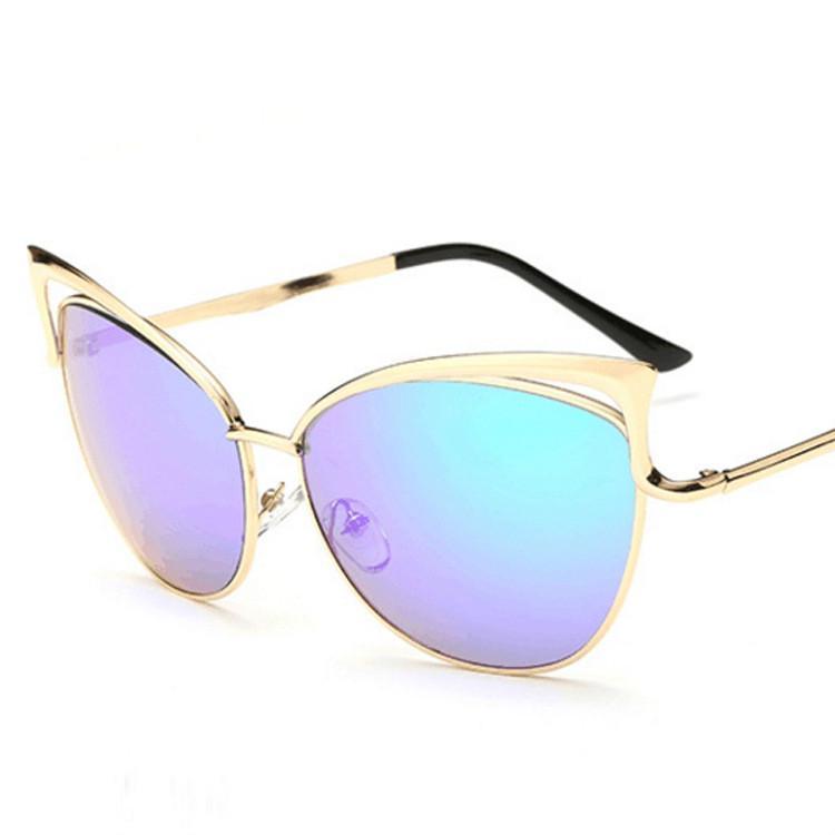 Gafas de sol Unisex gato mujer ojos anteojos de Metal marco de ...
