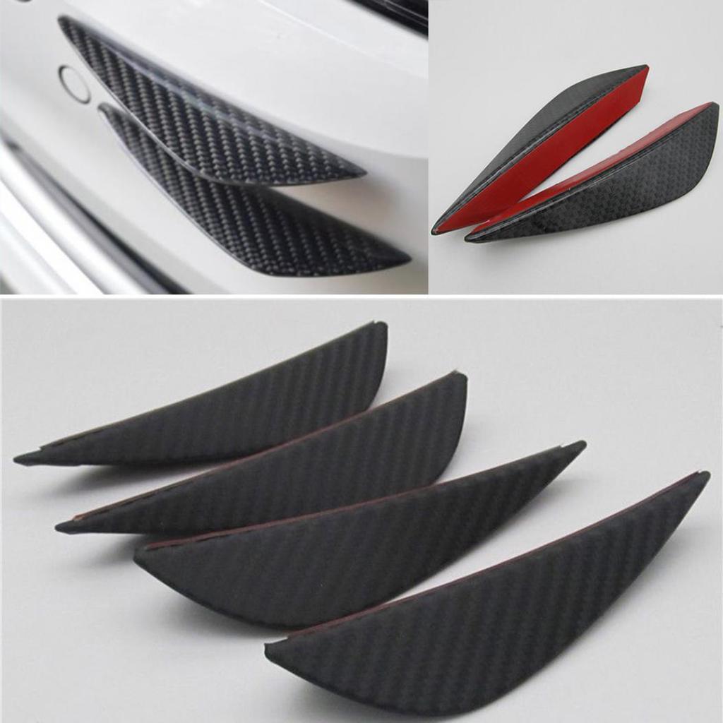 4x Car Suv Front Bumper Rubber Carbon Fins Lips Decor Canards Splitter Trim Wing