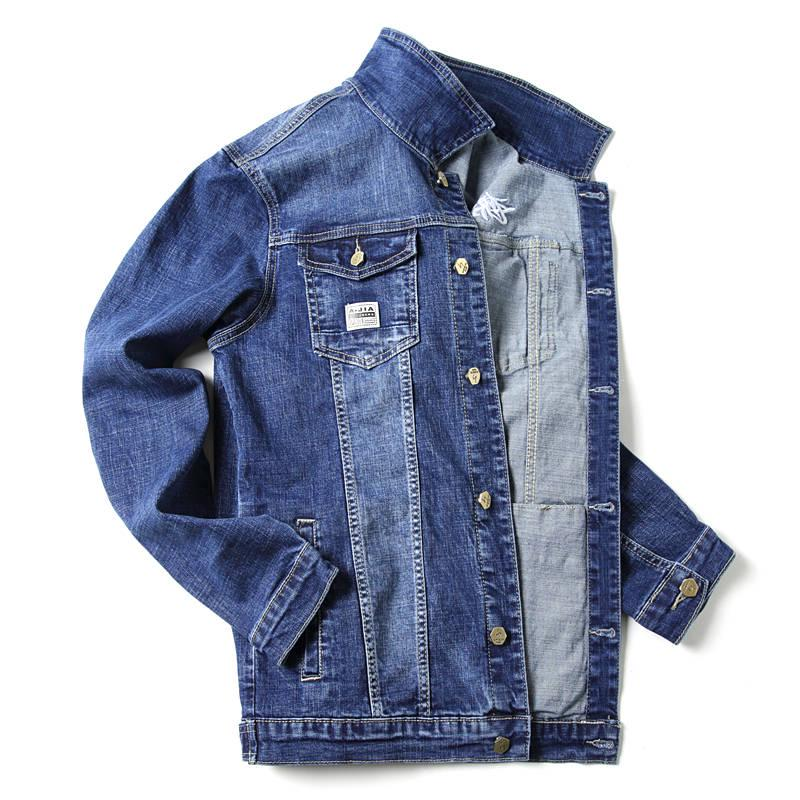 2019 Men/'s Jean Jacket Slim Fit Elasticity cowboy Coat Denim Outwear New