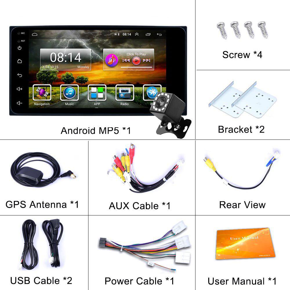 MCWAUTO Double DIN 7 Inch Android 9.0 Car Media Player Universal Radio Auto GPS Navigation with DSP 4G WiFi Bluetooth Rear Camera