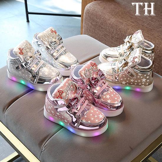 TH-Детские Мода Кроссовки Звезда Светящиеся ребенка случайные красочные легкие туфли фото