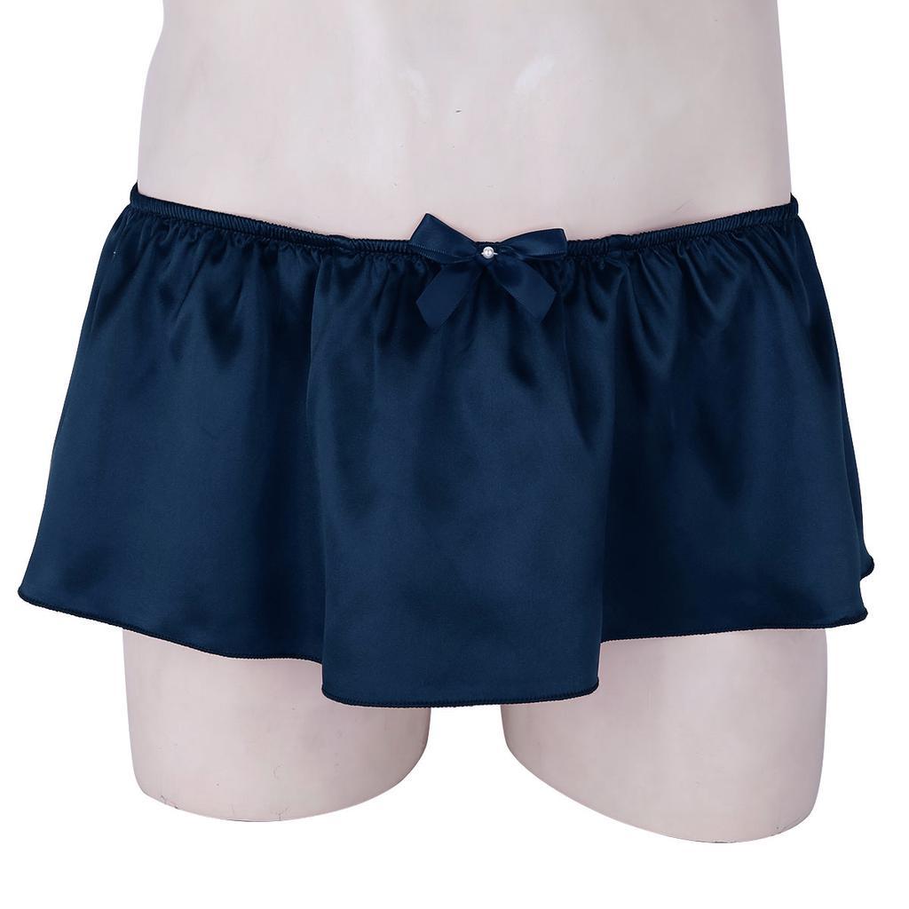 Men Lingerie Satin Sissy Skirted G-string Thong Underwear Panties Crossdress US#