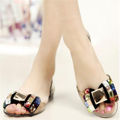 da093804064 Summer Style Bling Bowtie Fashion Peep Toe Jelly Sandal Flat Shoes ...