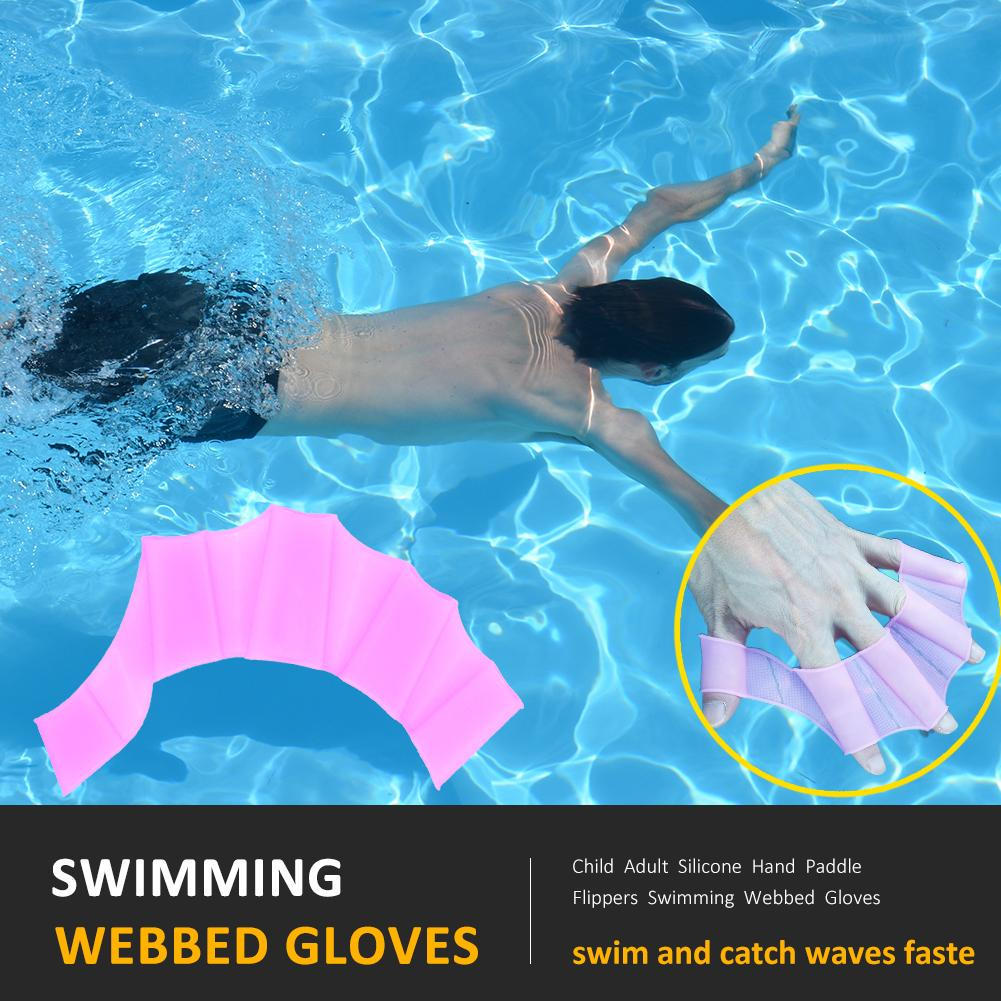 Kids Adults Swimming Hand Paddles Fins for Resistance Swim Training Blue M