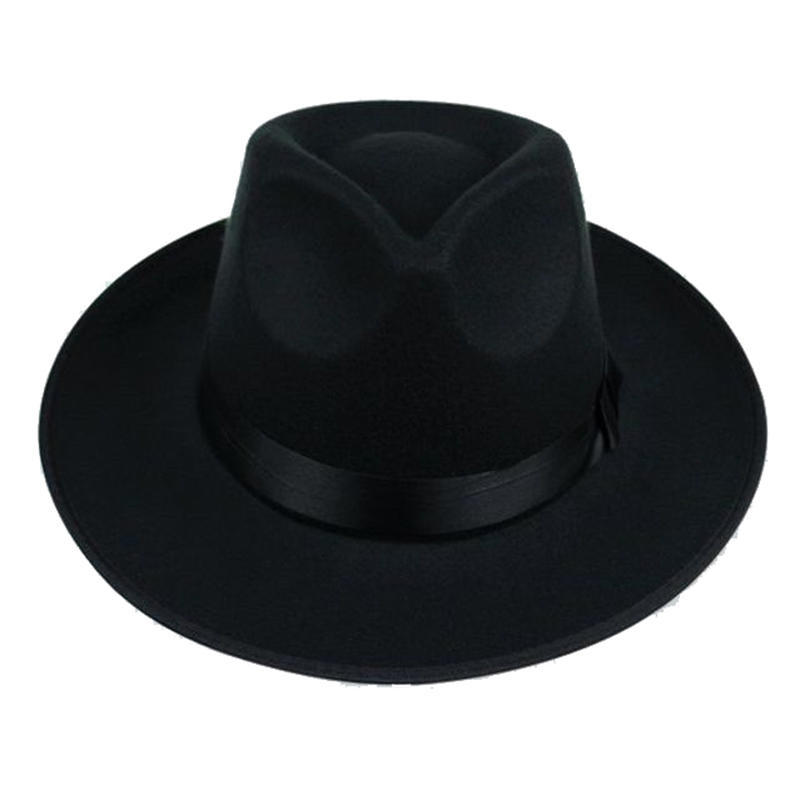 Men Women Wool Felt Fedora Hats Unisex Classic Flat Wide Brim Trilby Jazz Hat with Black Leather Belt