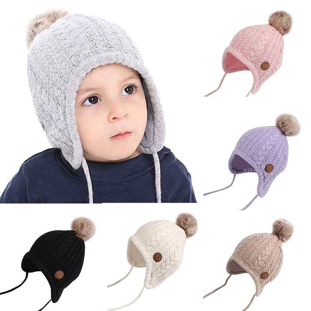 2Pcs Winter Caps with Double Ball Earflap for Unisex Infant Baby Knitted Hat Beige
