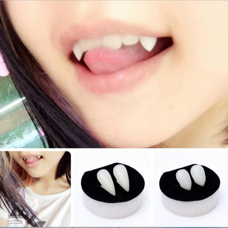 Women Men Fake Vampire Denture Werewolve Cosplay Tiger Tooth Anime Bloodcurdling