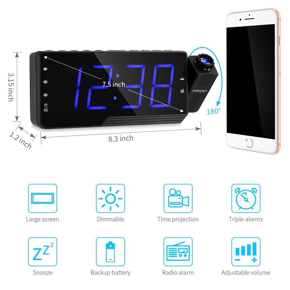 ZEEPIN PRA 001 DC 5V Digital Projector Clock Alarm Snooze Timer Temperature