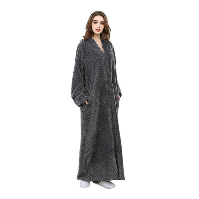 Zebery Unisex Flannel Housecoat Robes Zipper Long Full Length Zip up ... 65261cda0