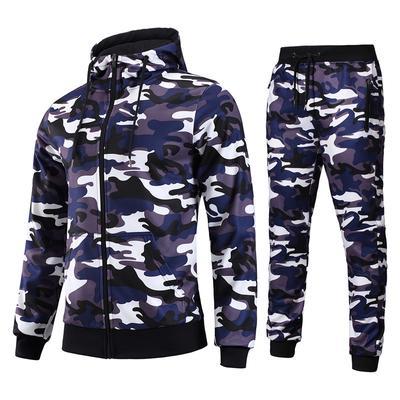 Mens Camouflage Jungle Print Fleece Tracksuit SetHoody /& Jog Pants