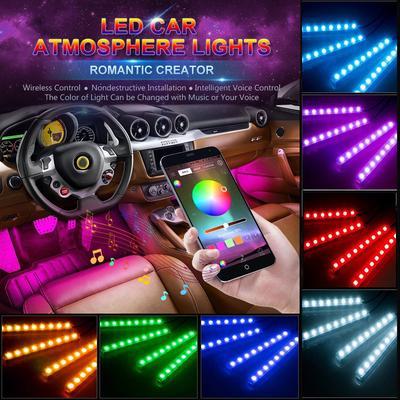 7 Kolorowe światła Neonowe Led Rgb Muzyka Zdalne Sterowanie Oświetleniem Wnętrza Samochodu