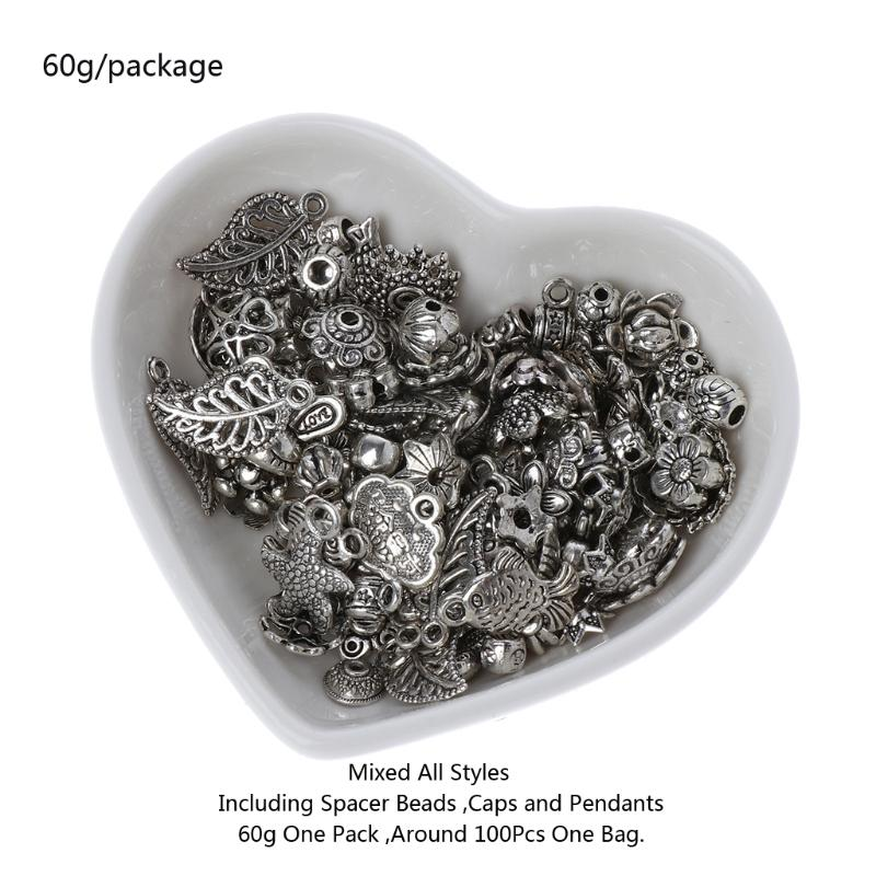 Wholesale Tibetan Silver Tone Spacer Beads Charms Accessories Findings Great Mix