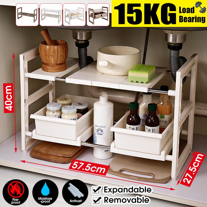 Forart 2-Tier Under Sink Expandable Cabinet Shelf Organizer Rack Foldable Plastic Desktop Storage Rack for Home Office Kitchen Bathroom Storage