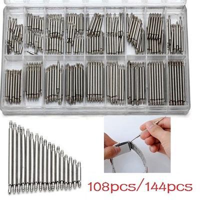 108/144pcs/lot 8-25mm Watch Band Spring Bars Strap Link Pins Watch Repair Tools