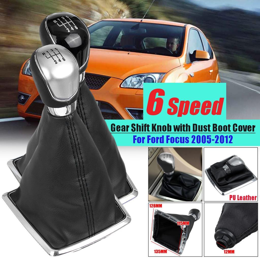 5 Speed Gaiter Boot Gear Shift Knob Stick Cover Frame For Ford Focus MK2 MK3