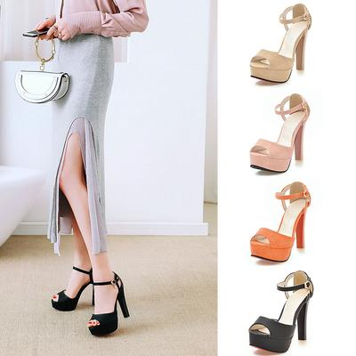 eb5432741 Size 33-43 Business Working Shoes Women High Heels Peep Toe Sandals Ankle  Strap Platform