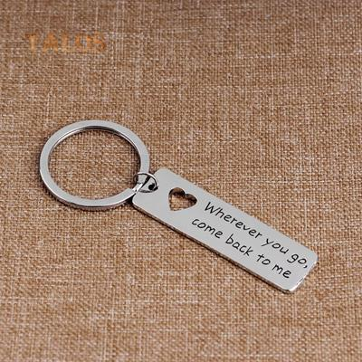 Letter Tag Pendant Wherever You Go Come Back to Me Key Ring Bag Decor Keychain Suspension