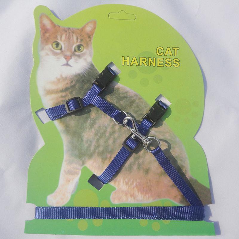 Reglable Durable Pet de lapin Cat Kitten Laisses Harnais Ceinture Marcher Collar animale Bleu