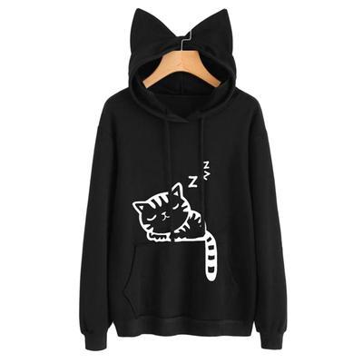 Fashion Girl TIK Tok Kawaii Casual Long Sleeved with Cat Ears Pullovers Sweatshirts Hoodie for Girls