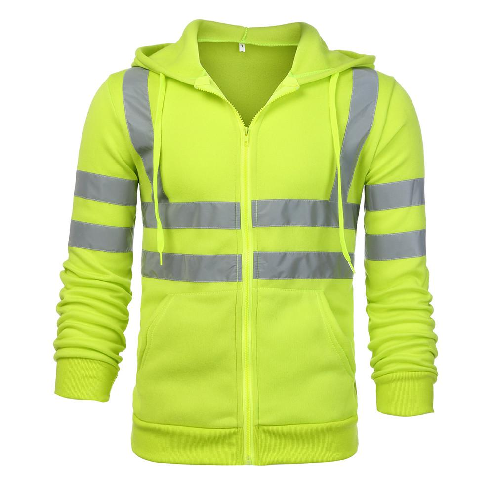 Mens Road Work High VisibilityPullover Long Sleeve Hooded Sweatshirt Tops Blouse