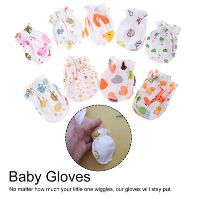 Soft Cotton 5 Pairs Cute Cartoon 0-6 Months Newborn Baby Infant Anti Catch Scratch Gloves Mittens Random