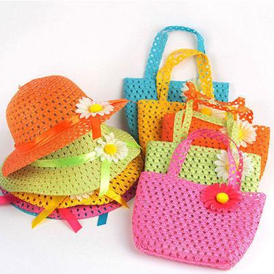 Simple Fashion Summer Children Sun Flower Straw Hat And Handbag Hollow Girls  Sunscreen Beach Cap 0b3483d67777