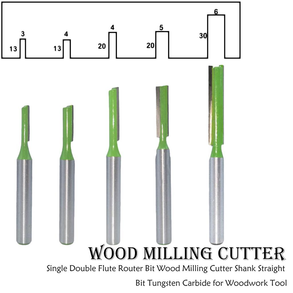 "Woodworking Milling Cutter V Grooving Dual Flute Router Bit Set 1//4/"" Shank 4Pcs"