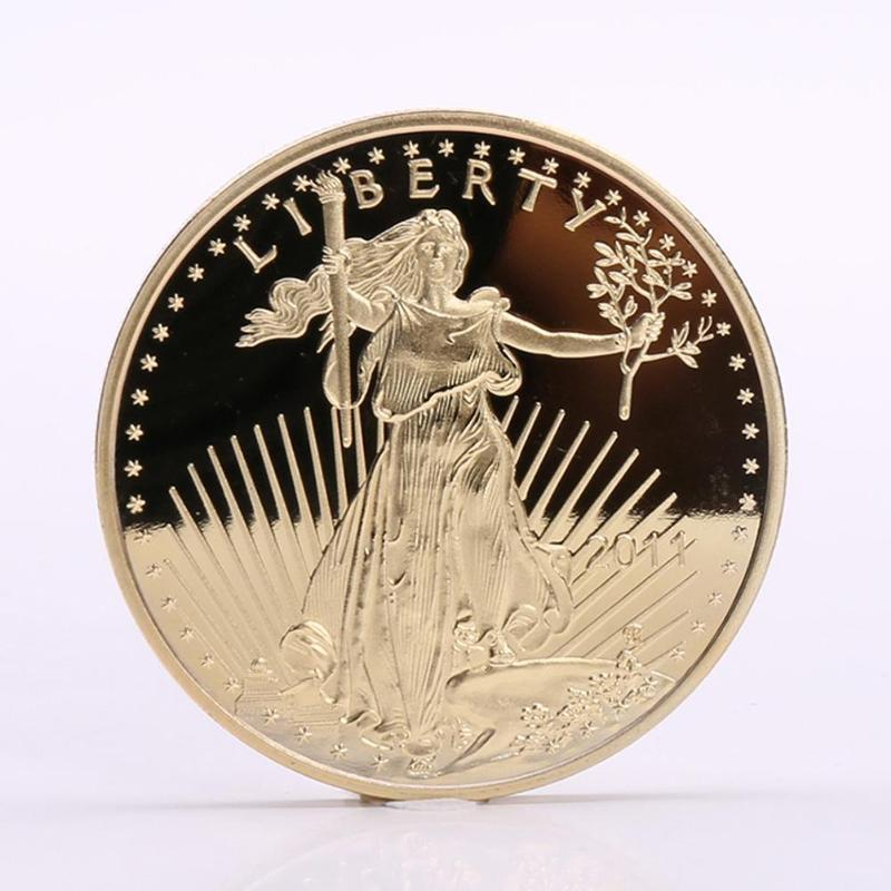 1Pcs Retro Statue of Liberty American Gold-Plated Commemorative Coin Collections