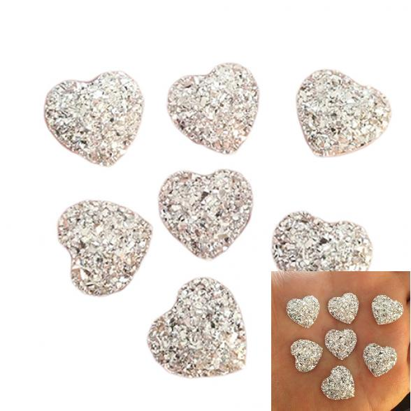 Hot 100Pcs 10mm Heart Resin FlatBack Sew On Clothe//Bags Decoration Craft DIY