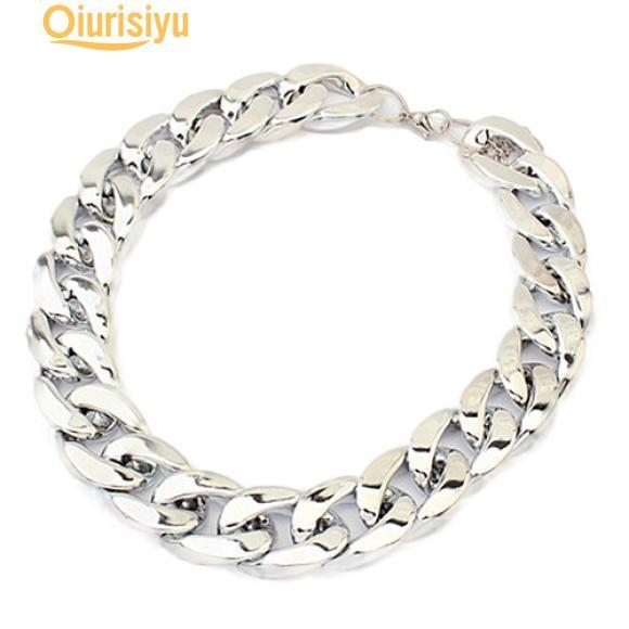 Женское ожерелье в виде толстой пластиковой цепи со стальной регулируемой застежкой в золотом и серебряном цвете фото