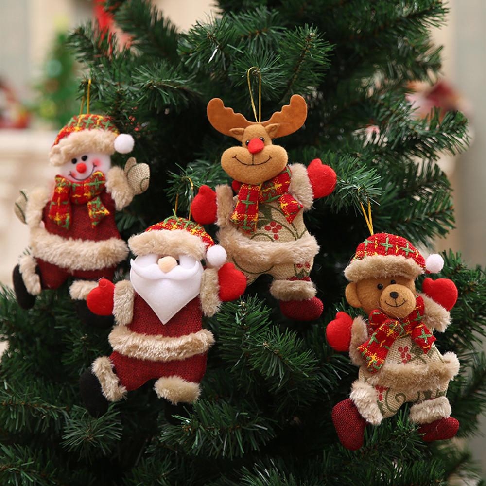 Snowman Santa Claus Wooden Ornaments  Xmas Hanging Christmas Tree Decoration