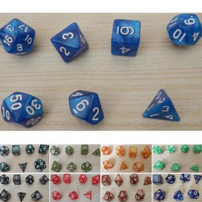 7pcs Gem Acrylic Multi-Sided Dice Polyhedral Dice D/&D TRPG Game Light Blue