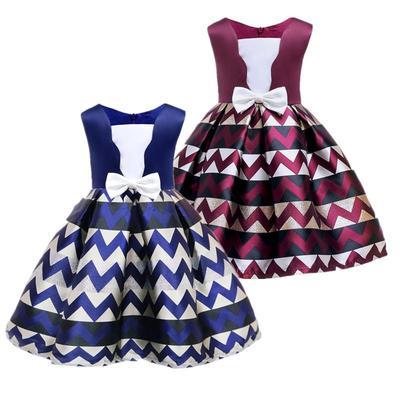 Kid Girls Casual Floral Print BowKnot Dress Princess Party Wedding Tutu Dresses