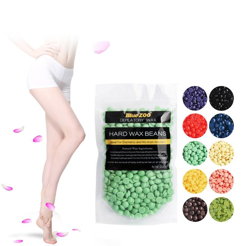 Hair removal wax grains 100g bean depilatory hard wax hot wax heater 10pcs  stick hair removal kit bikini