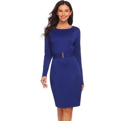 6a8f7d23906f6 Mujeres Cofanes cuello manga larga lápiz OL elegante vestido sólido redondo