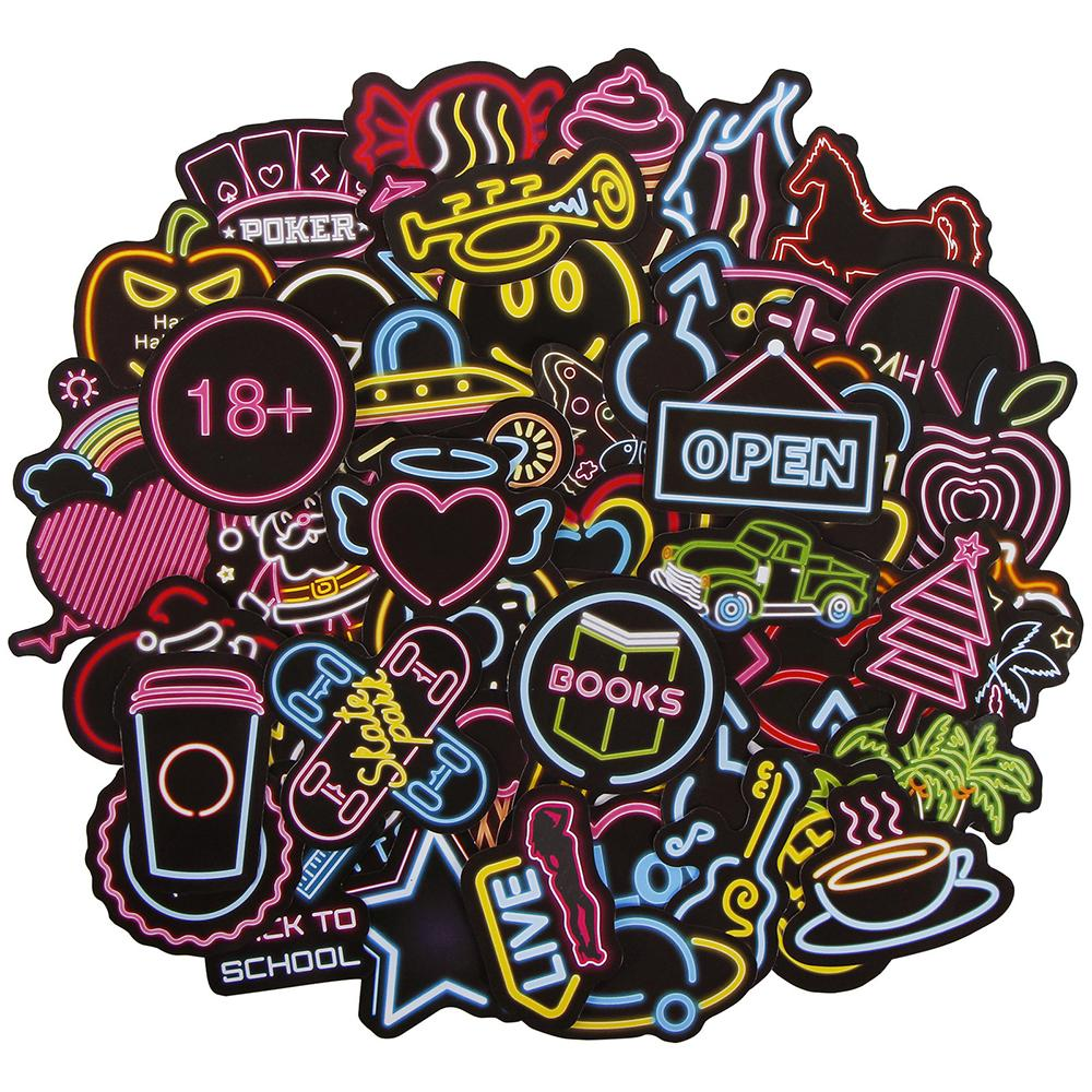 21Pcs neon light style cute stickers for suitcase laptop guitar cool doodle ^JP