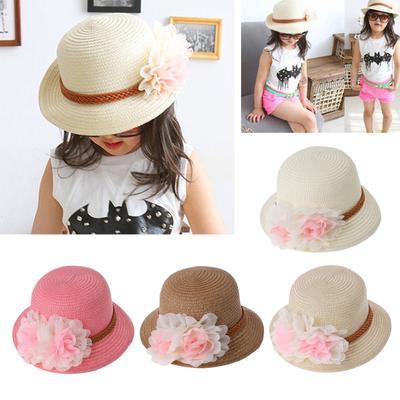 1bab62278f1 Fashion Baby Girls Summer Flower Sun Straw Hat Beach Cap Kids Gift