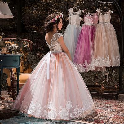 Girls Flower Party Dress Kids Princess Prom Formal Wedding Bridesmaid Long Dress