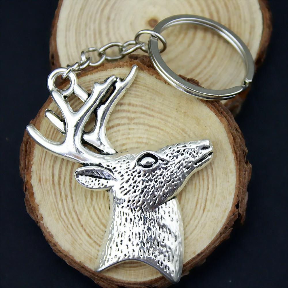Faux Leather Oval Keychain Elk Personalized Engraving Included