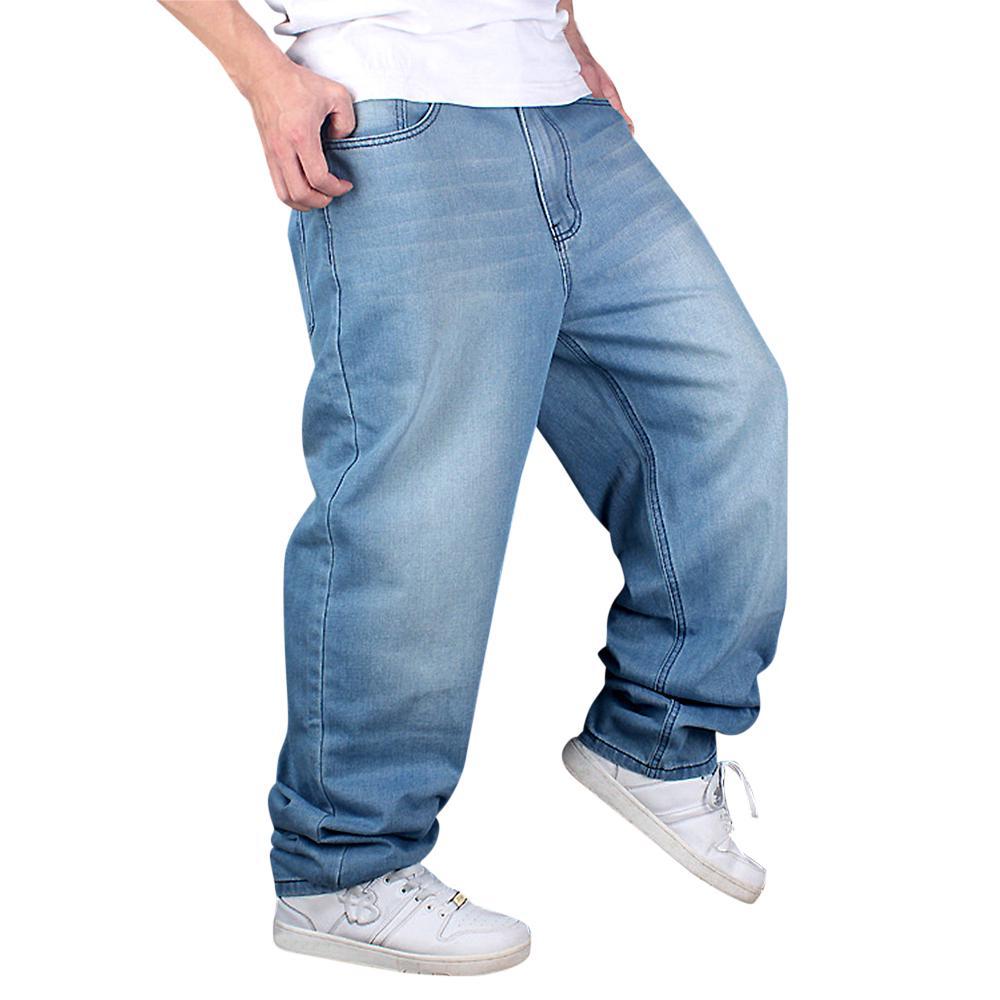 fb44e3eb55e Мужская мода джинсы прямые плюс размер свободные джинсовые для брюк ...