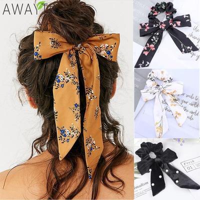 Women Girls Hair Bow Silk ribbon Long streamers hair Rope ring hair Beach V1P3