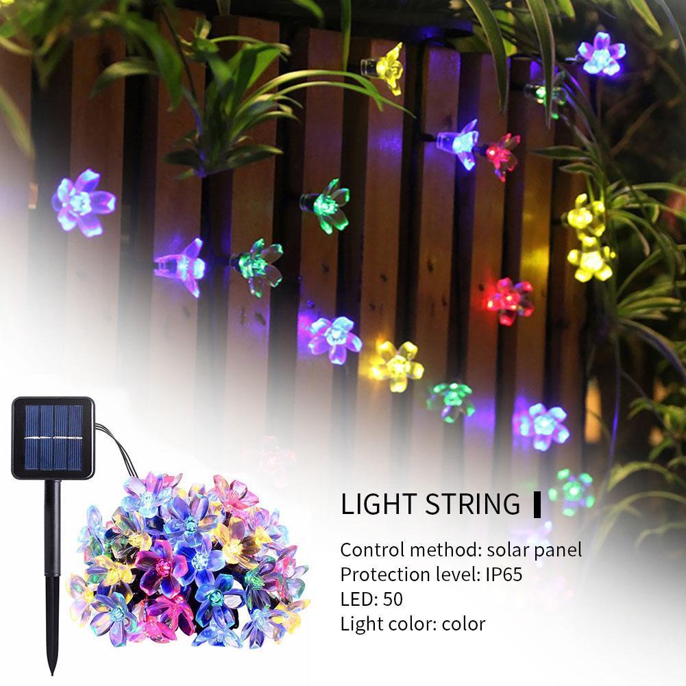Flower Solar Powered Waterproof Fairy String LED Light Garden Outdoor Decoration